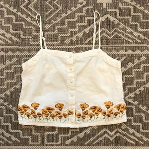 Sunflower Embroidered Cropped Tank Size Small